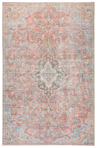 Foix Indoor/ Outdoor Medallion Red/ Light Blue Rug by Jaipur Living