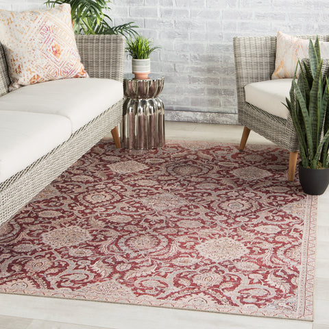 Sire Indoor/ Outdoor Oriental Red/ Gray Rug by Jaipur Living