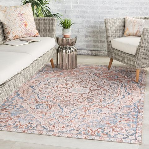 Annette Indoor/ Outdoor Medallion Blue/ Light Pink Rug by Jaipur Living