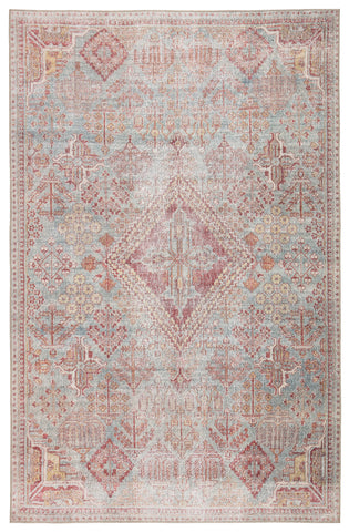 Kendrick Indoor/ Outdoor Medallion Sky Blue/ Pink Rug by Jaipur Living