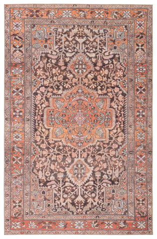 Chariot Indoor/ Outdoor Medallion Orange/ Dark Gray Rug by Jaipur Living