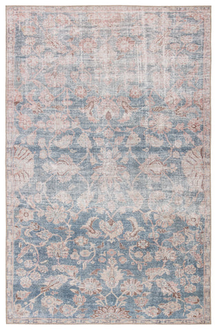 Bardia Indoor/ Outdoor Oriental Blue/ Light Pink Rug by Jaipur Living