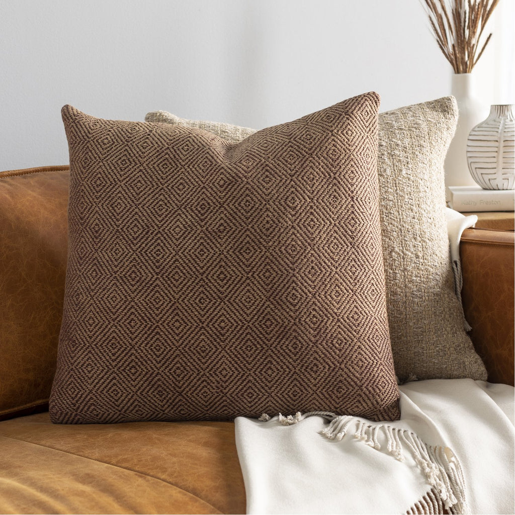 Camilla CIL-002 Hand Woven Square Pillow in Camel & Dark Brown by Surya