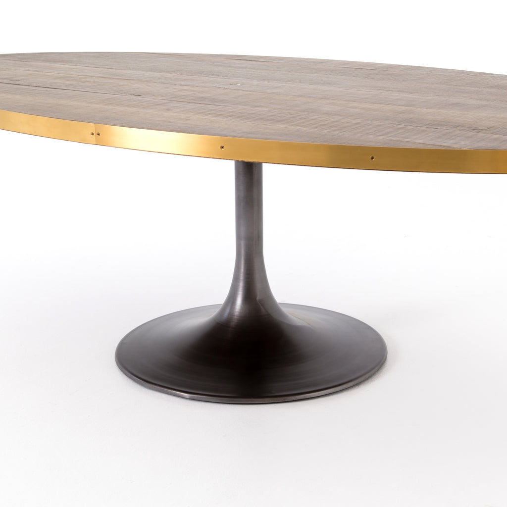 Evans Oval Dining Table In Polished Brass Burke Decor
