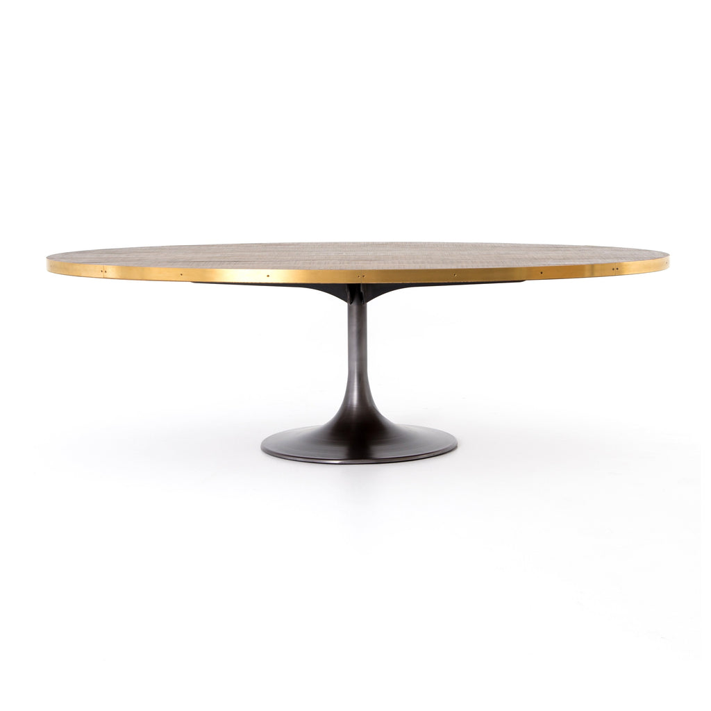 Evans oval dining table in polished brass burke decor for Dining table tj hughes