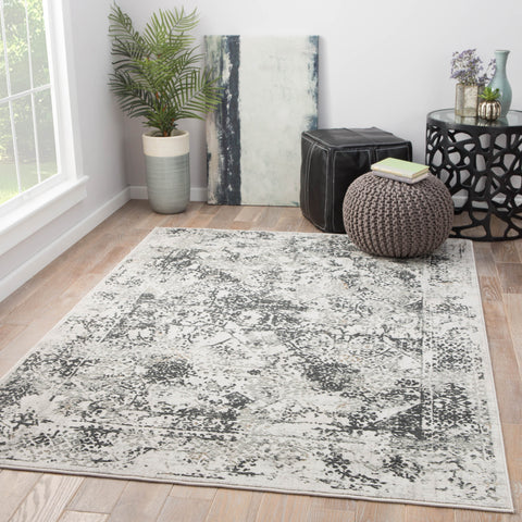 Yvie Abstract White & Gray Area Rug design by Jaipur Living