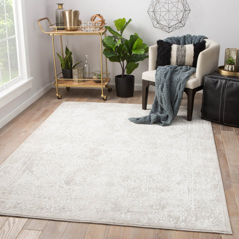 Lianna Abstract Silver & White Area Rug