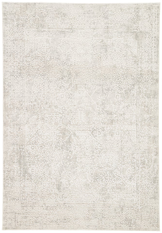 Lianna Abstract Silver & White Area Rug design by Jaipur