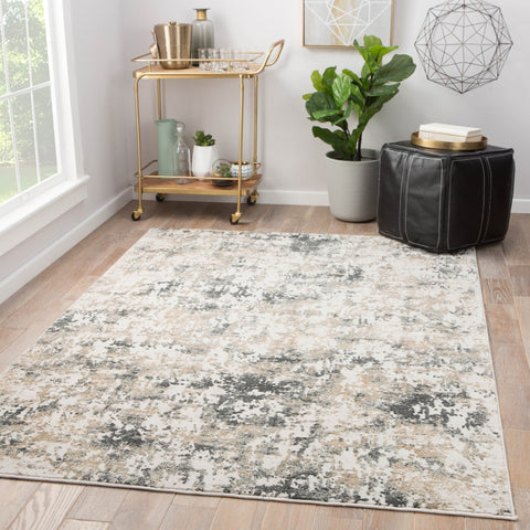 Arvo Abstract White & Dark Gray Area Rug design by Jaipur