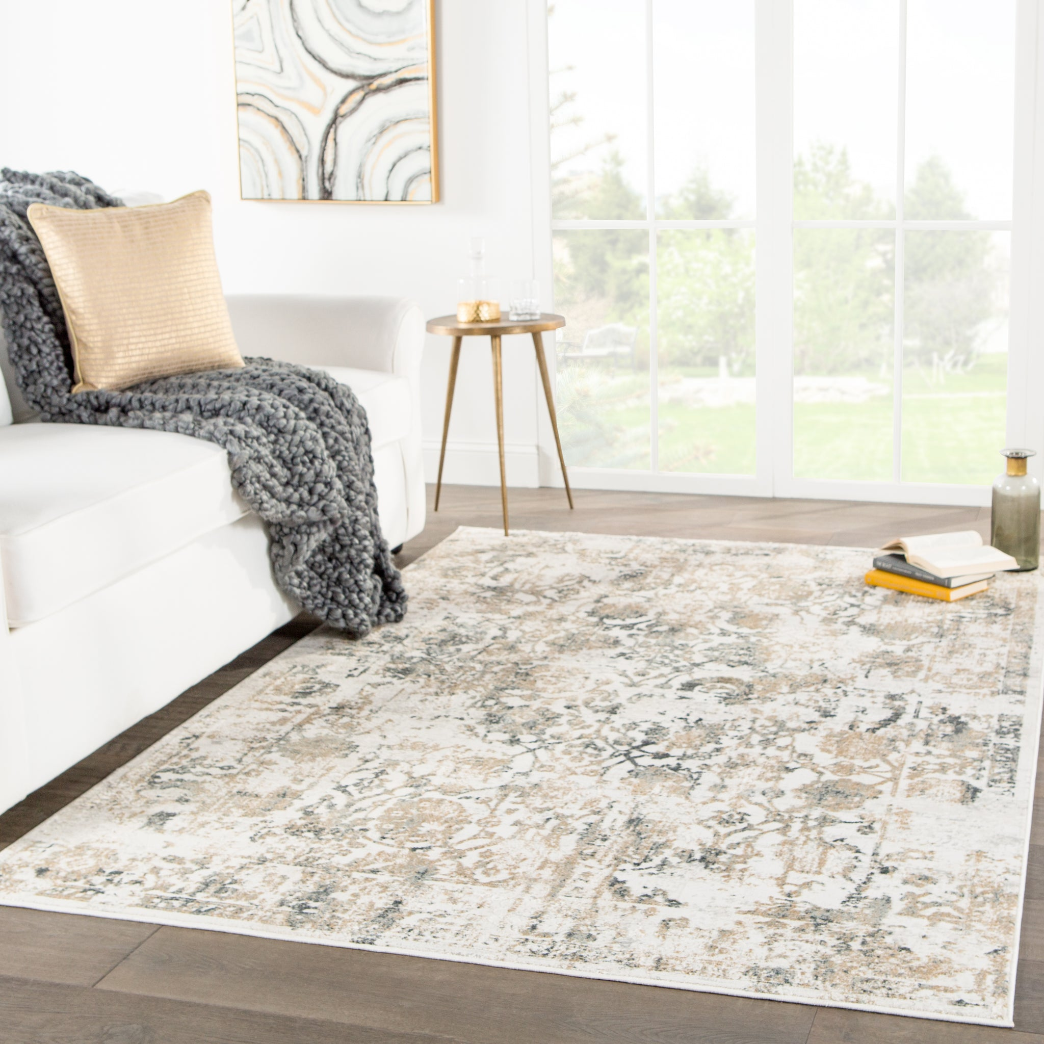 Clara Floral Gray Area Rug Burke Decor