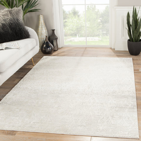 Kata Geometric Rug in Light Gray & Silver Birch design by Jaipur Living