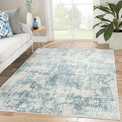 Eero Abstract Rug in Silver Birch & Smoke Blue design by Jaipur