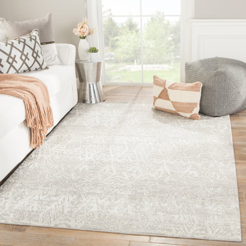 Kata Geometric Rug in Steeple Gray & Bone White design by Jaipur Living
