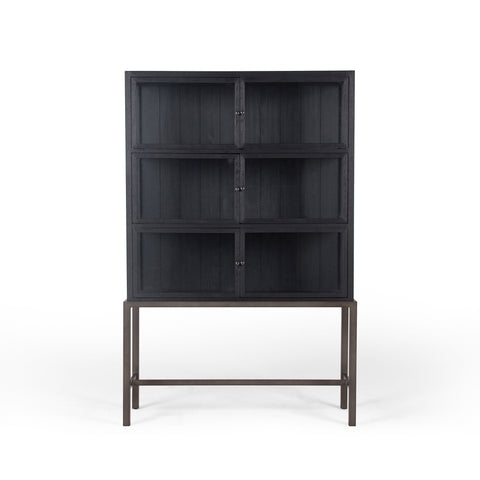 Spencer Curio Cabinet In Drifted Black