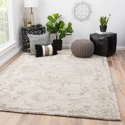 Sasha Medallion Rug in Pumice Stone & Steeple Gray design by Jaipur Living