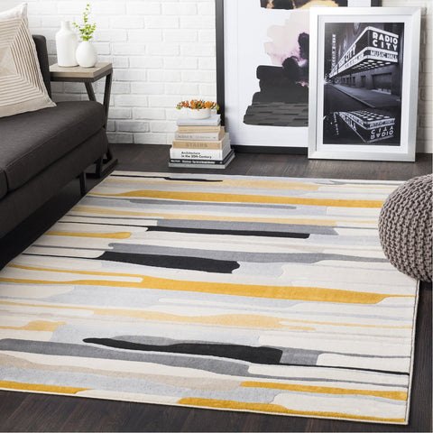 City CIT-2340 Rug in Mustard & Black by Surya