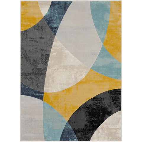 City Rug in Aqua & Light Gray