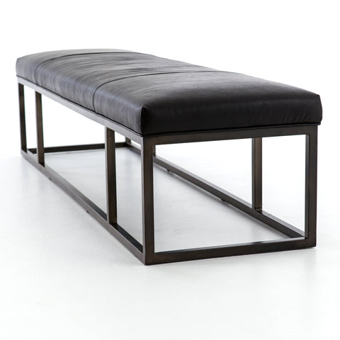 Beaumont Leather Bench In Dakota Rider Black