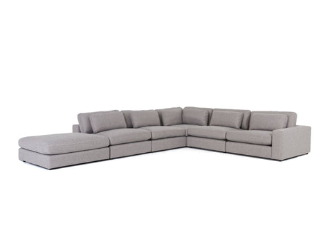 Bloor 5-Pc Sectional W/ Ottoman in Chess Pewter