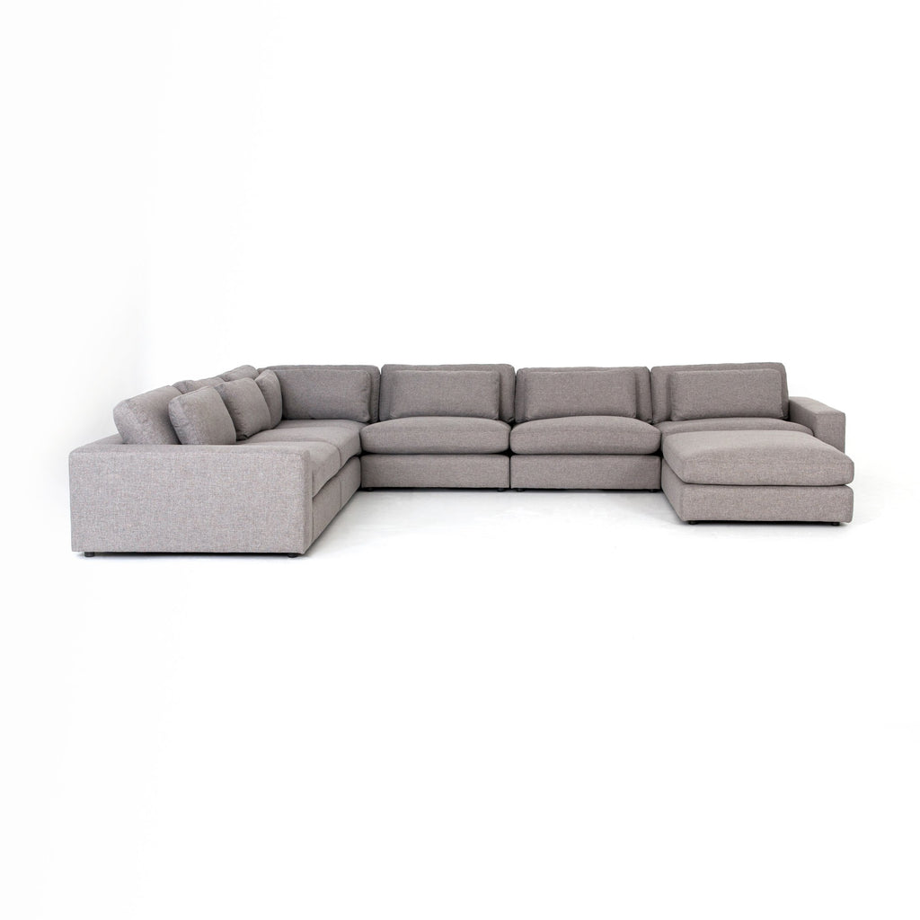 Bloor 6-Pc Sectional W/ Ottoman in Chess Pewter
