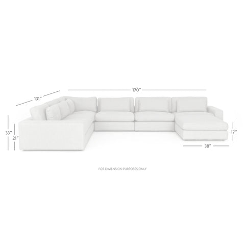 Bloor 6-Pc Sectional W/ Ottoman in Essence Natural