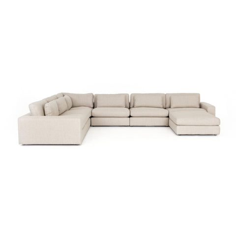 Bloor 6 Piece Sectional with Ottoman in Essence Natural