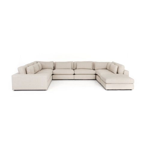 Bloor 7 Piece Sectional with Ottoman in Essence Natural