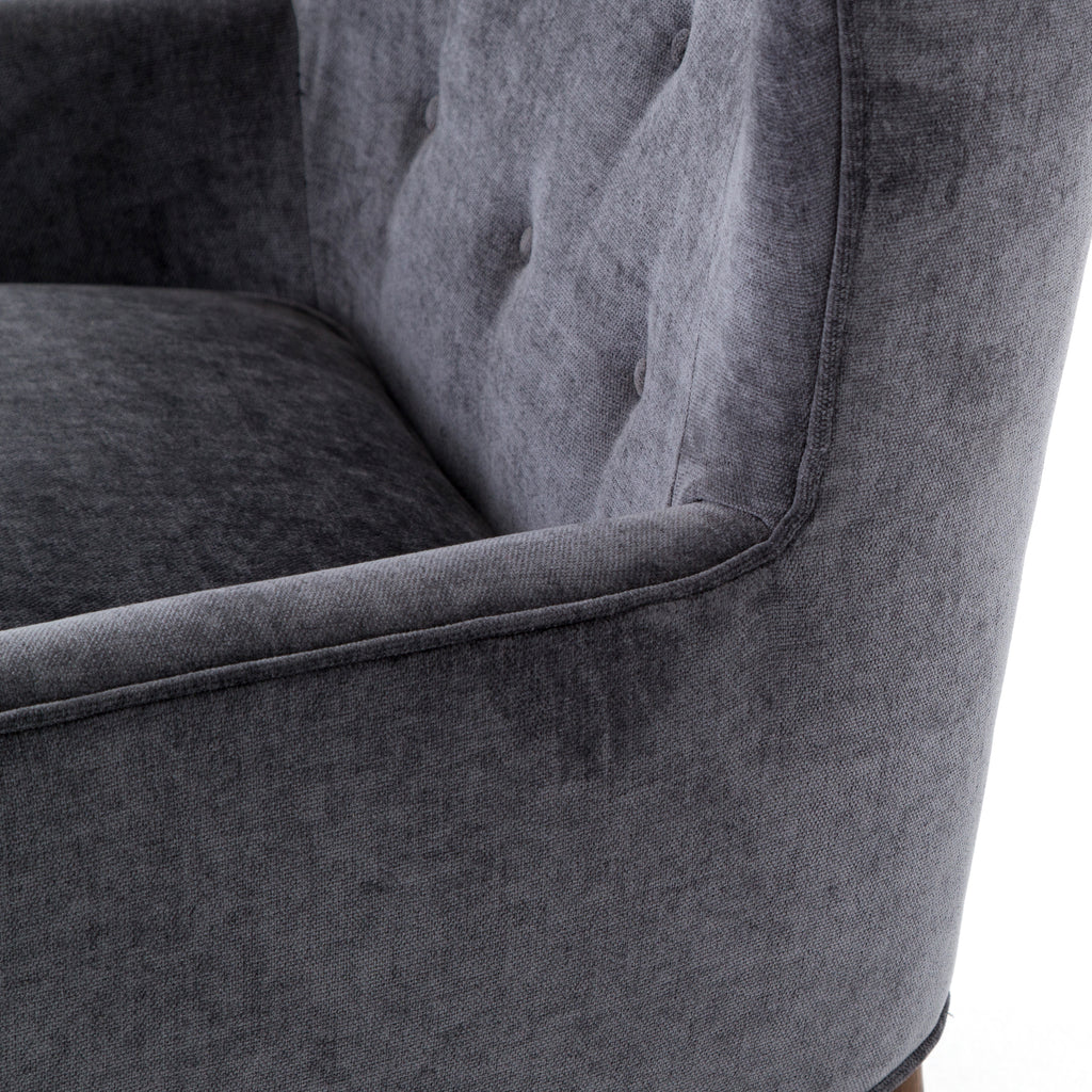 Clermont Chair in Charcoal Worn Velvet