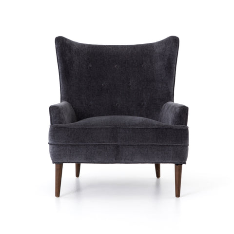 Clermont Chair in Charcoal Worn Velvet by BD Studio