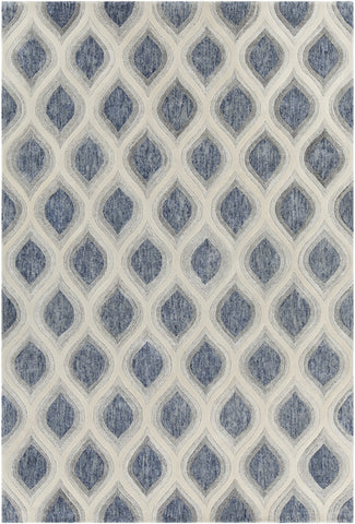 Clara Collection Hand-Tufted Area Rug in Blue, Grey, & White