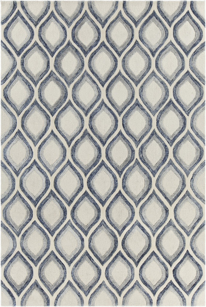Clara Collection Hand-Tufted Area Rug in White, Grey, & Blue