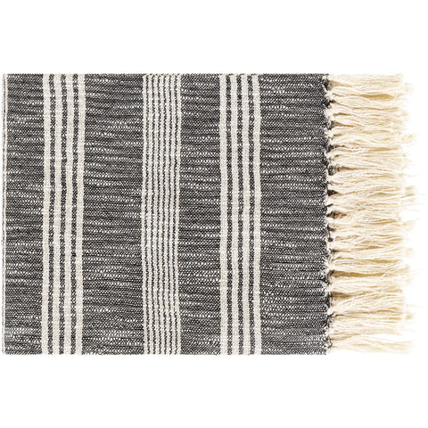 Callan CLA-1000 Knitted Throw in Black & Ivory by Surya