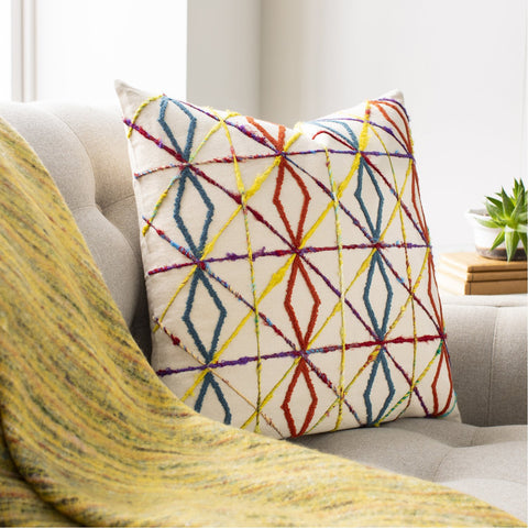 Callie CLI-001 Woven Square Pillow in Burnt Orange & Butter by Surya