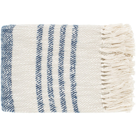 Chamonix CMX-1002 Hand Woven Throw in Dark Blue by Surya