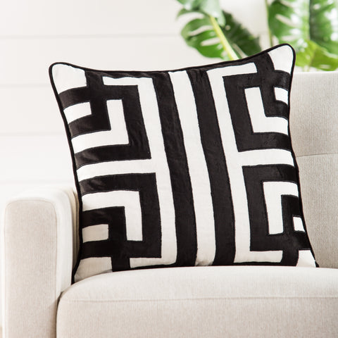 Ordella White & Black Geometric Throw Pillow