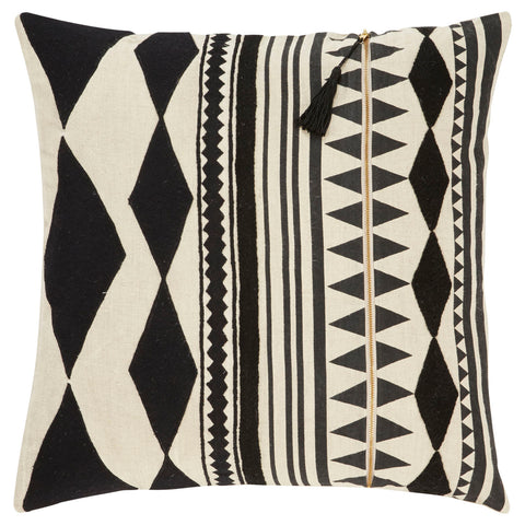 Cosmic Pillow in Oatmeal & Jet Black design by Nikki Chu