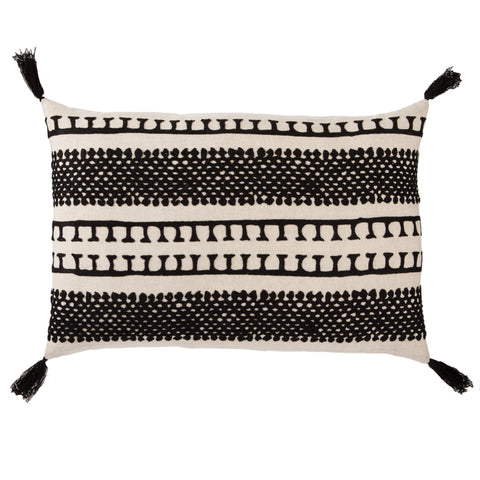 Fala Cream & Black Geometric Throw Pillow