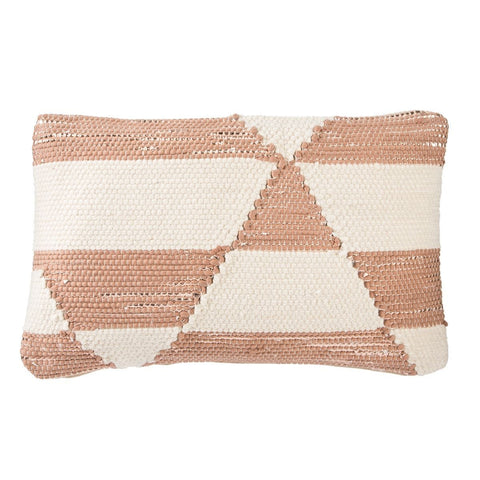 Otway Cream & Pink Geometric Throw Pillow