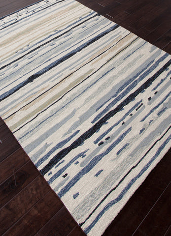 Sketchy Lines Indoor/ Outdoor Abstract Silver & Blue Area Rug