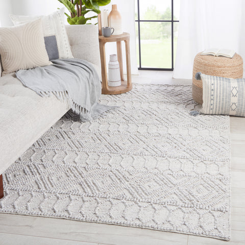 Ismene Indoor/Outdoor Trellis Light Grey & White Rug by Jaipur Living