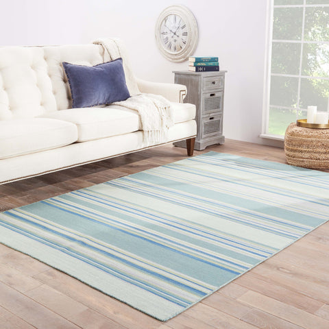 Kiawah Stripe Rug in Harbor Gray & Dusty Turquoise design by Jaipur