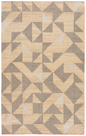 Utah Handmade Geometric Beige & Gray Area Rug design by Jaipur