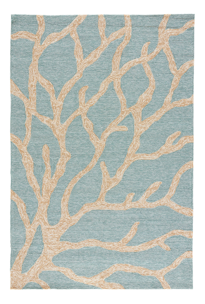 Coral Indoor/ Outdoor Abstract Teal & Tan Area Rug