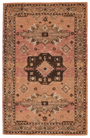 Idina Handmade Medallion Pink & Brown Rug