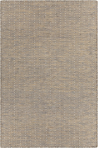 Crest Collection Hand-Woven Area Rug in Gold, White, & Black design by Chandra rugs
