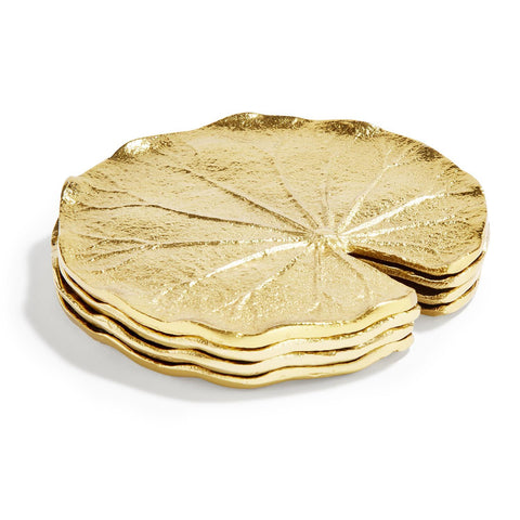 Golden Lily Leaf Coaster, Set of 4