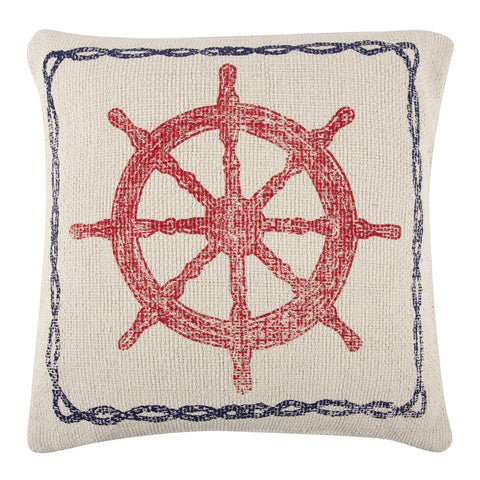 Ship & Wheel Sketch Grain Sack Pillow design by Thomas Paul