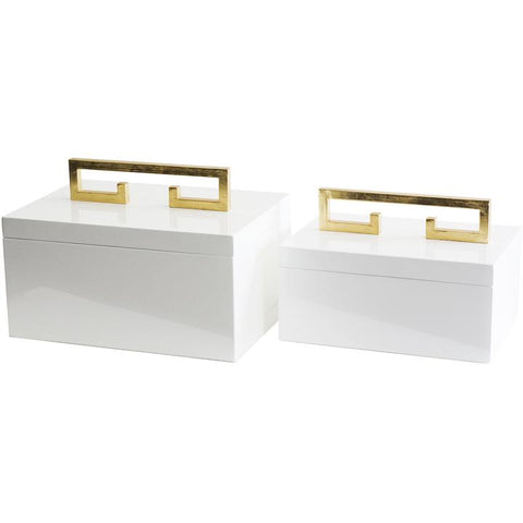 Set of 2 Avondale Boxes in White design by Couture Lamps