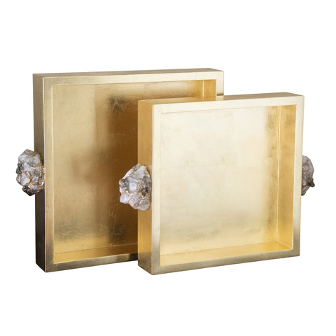 Set of 2 Astoria Quartz Square Trays design by Couture Lamps