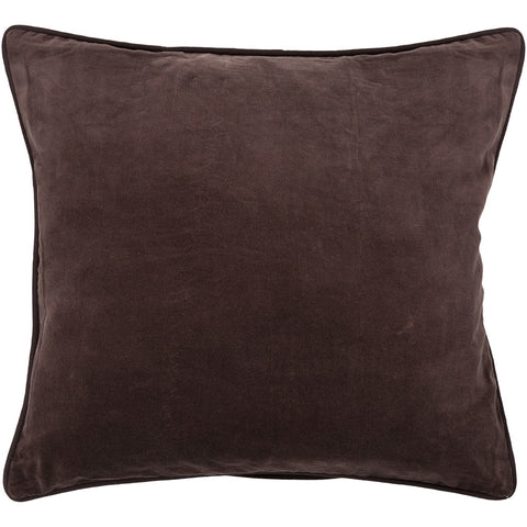 Cotton & Velvet Pillow in Brown